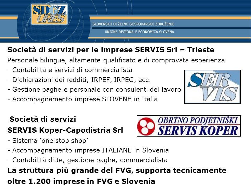 Società di servizi per le imprese SERVIS Srl – Trieste Personale bilingue, altamente qualificato e di comprovata esperienza - Contabilità e servizi di commercialista - Dichiarazioni dei redditi, IRPEF, IRPEG, ecc.