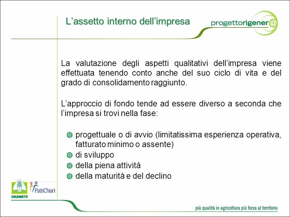 L'assetto interno dell'impresa