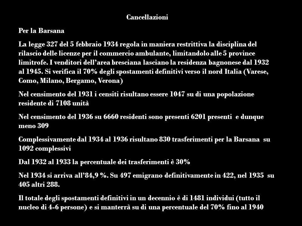 Cancellazioni Per la Barsana.