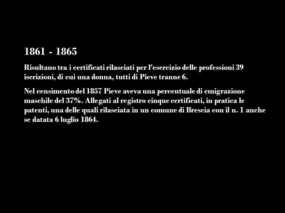 1861 - 1865Risultano tra i certificati rilasciati per l'esercizio delle professioni 39 iscrizioni, di cui una donna, tutti di Pieve tranne 6.