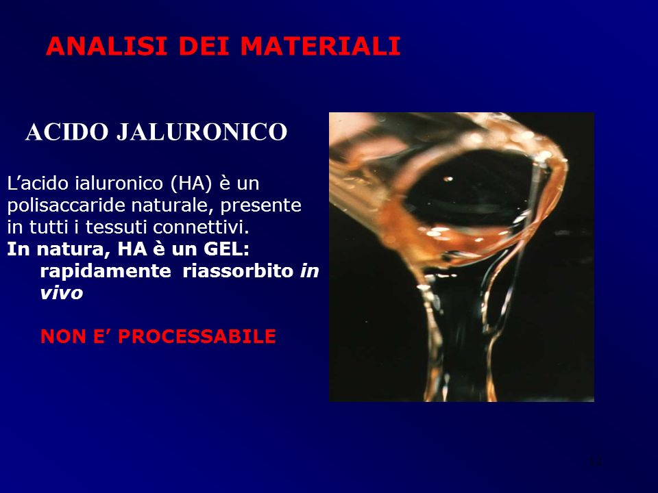 ANALISI DEI MATERIALI ACIDO JALURONICO