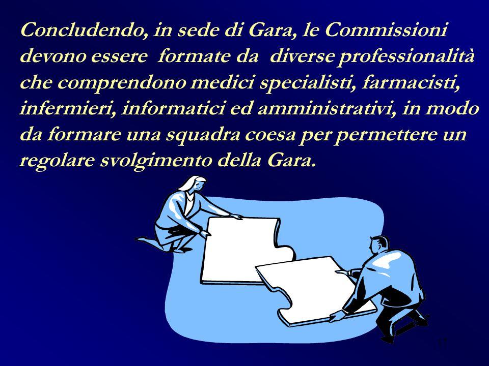Concludendo, in sede di Gara, le Commissioni