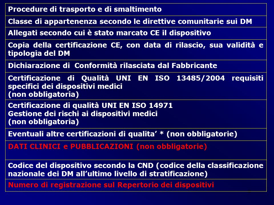 Procedure di trasporto e di smaltimento