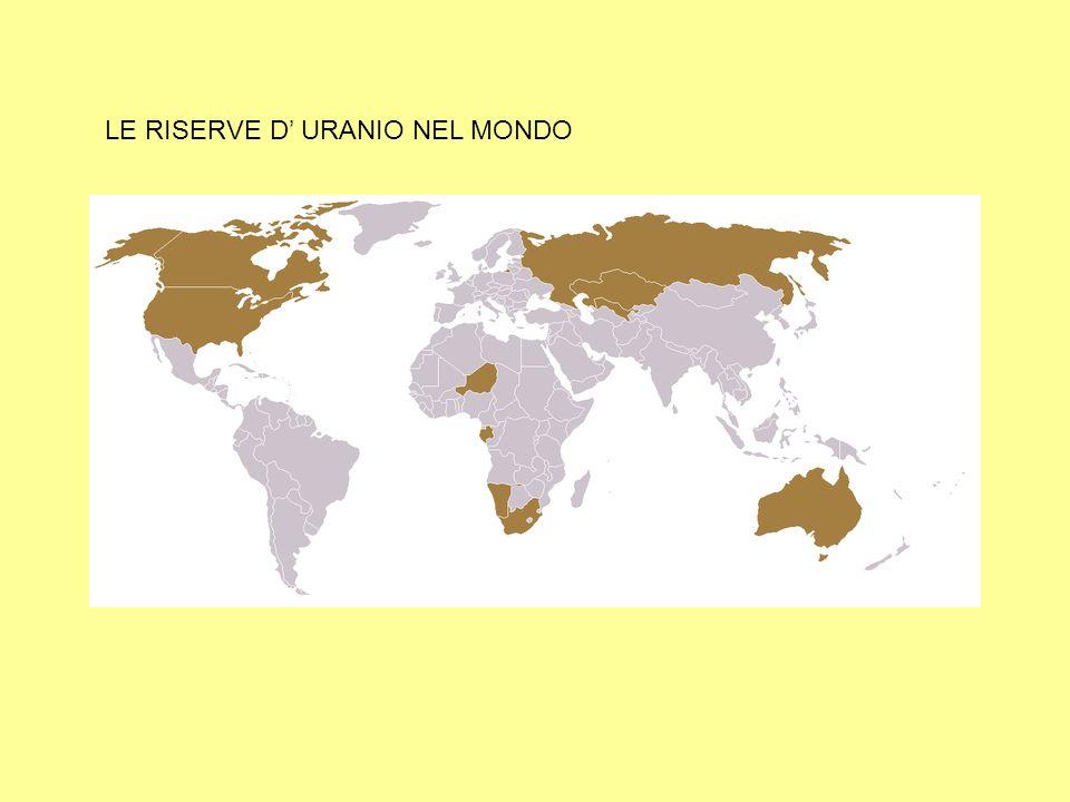 LE RISERVE D' URANIO NEL MONDO