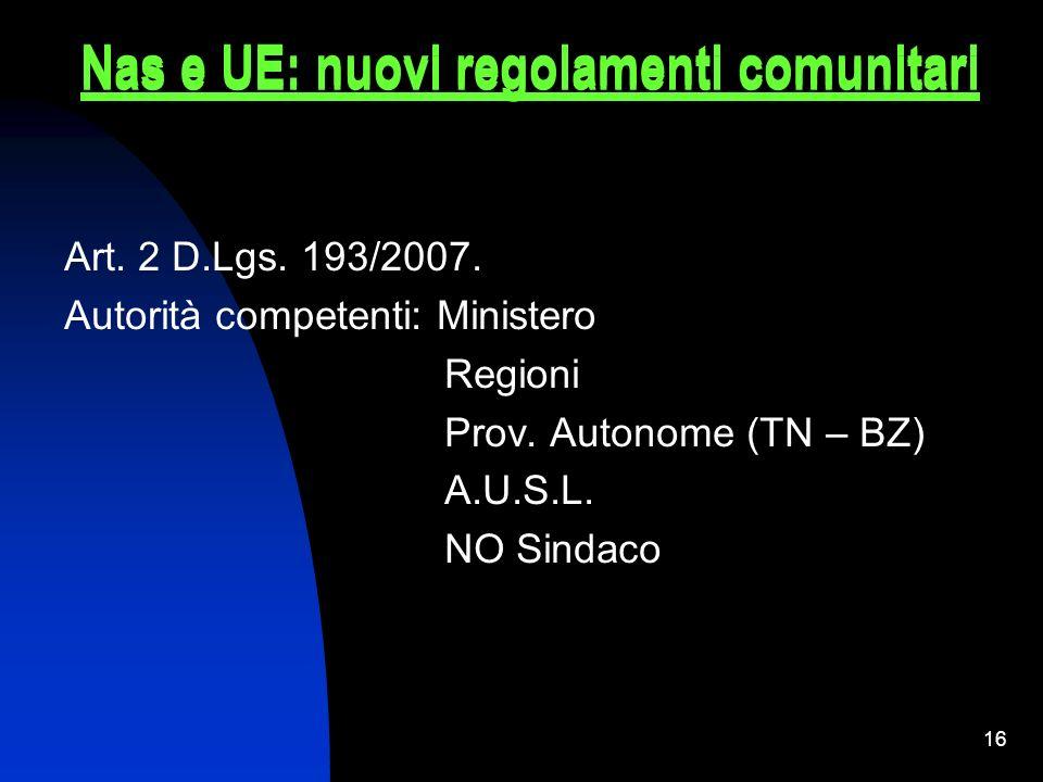 Nas e UE: nuovi regolamenti comunitari