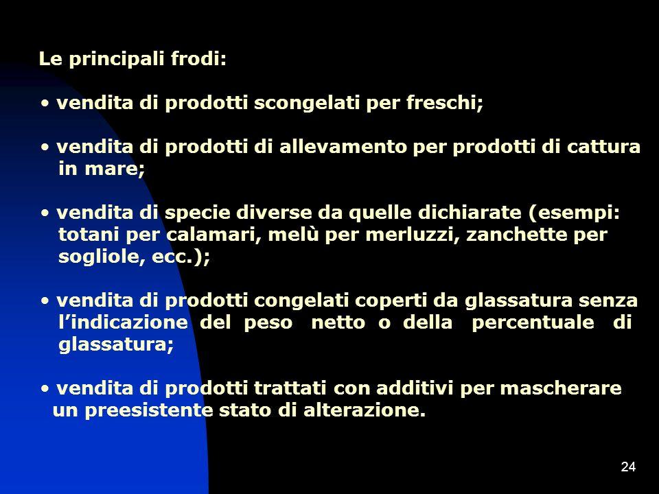 Le principali frodi: vendita di prodotti scongelati per freschi; vendita di prodotti di allevamento per prodotti di cattura.