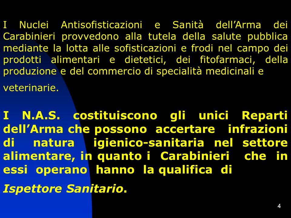 I Nuclei Antisofisticazioni e Sanità dell'Arma dei Carabinieri provvedono alla tutela della salute pubblica mediante la lotta alle sofisticazioni e frodi nel campo dei prodotti alimentari e dietetici, dei fitofarmaci, della produzione e del commercio di specialità medicinali e
