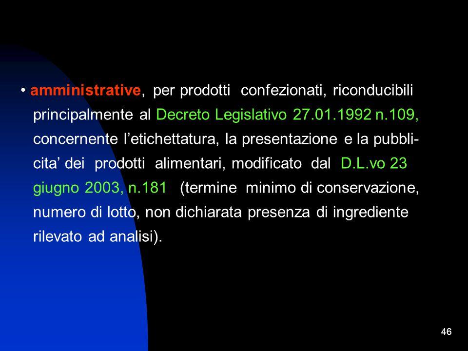 amministrative, per prodotti confezionati, riconducibili