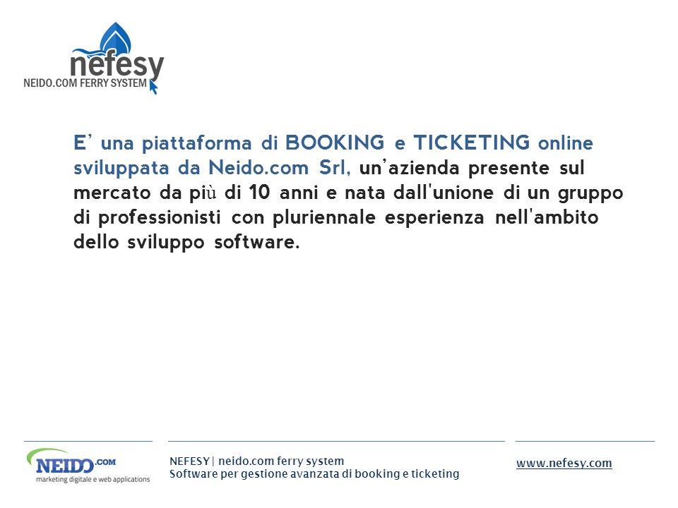 E' una piattaforma di BOOKING e TICKETING online sviluppata da Neido