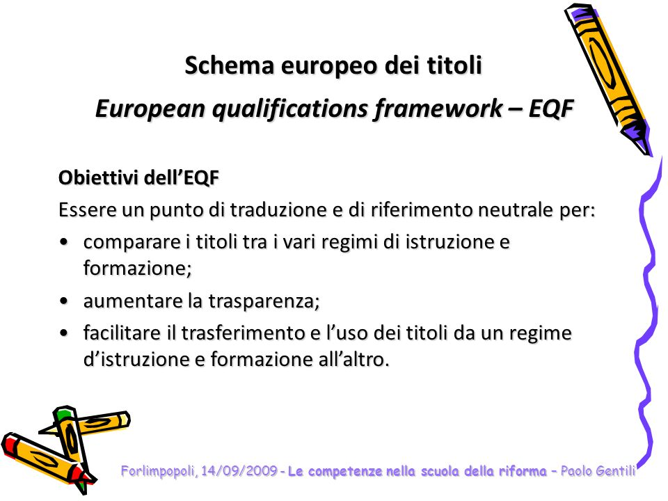 Schema europeo dei titoli European qualifications framework – EQF