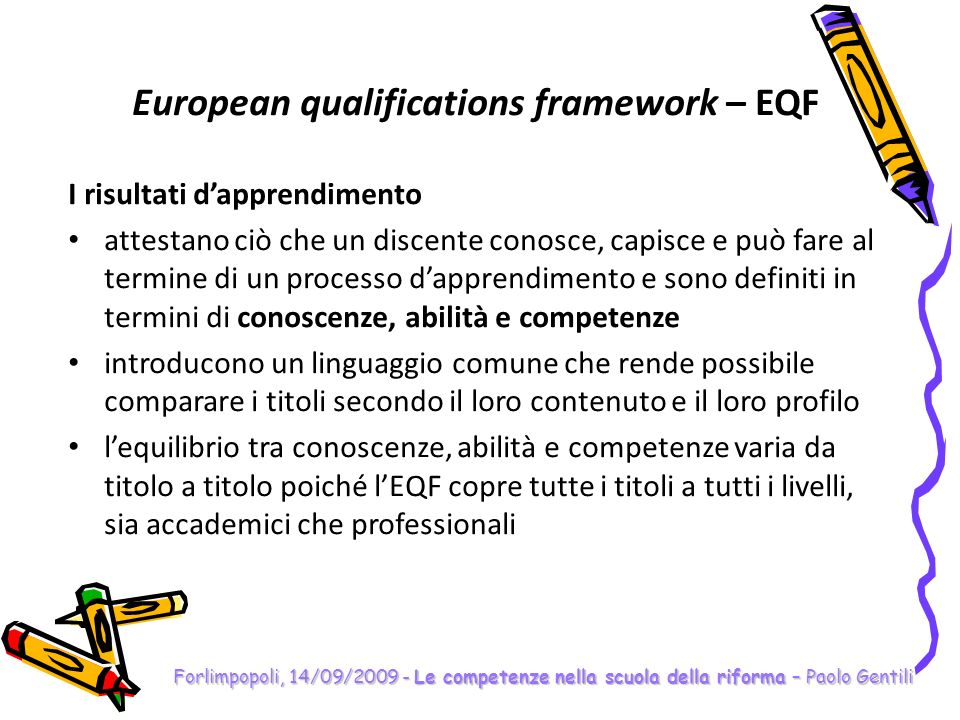 European qualifications framework – EQF