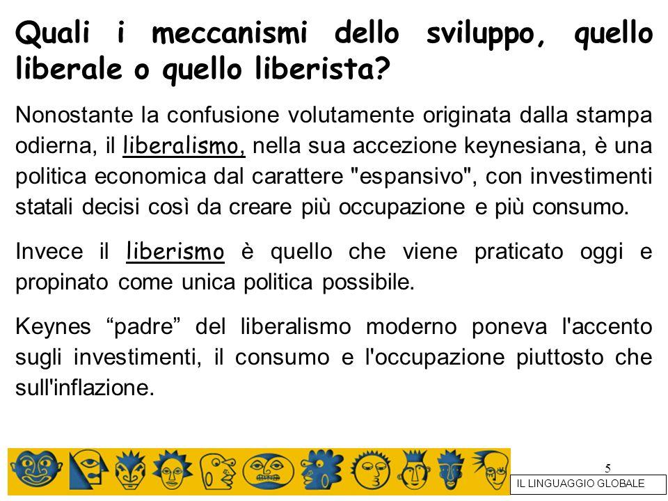 Quali i meccanismi dello sviluppo, quello liberale o quello liberista