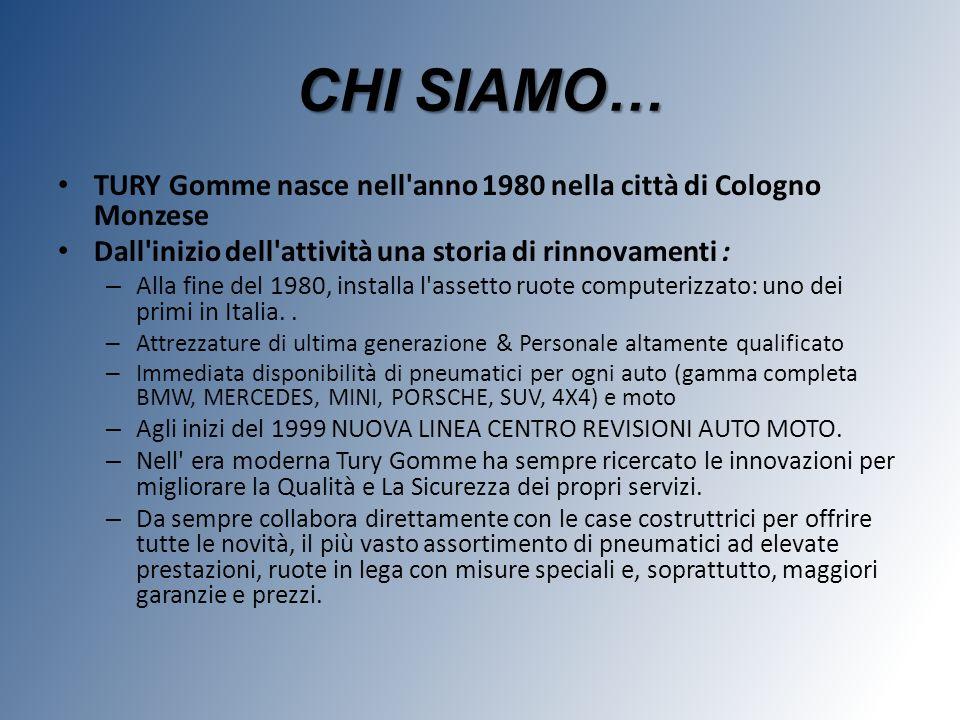 CHI SIAMO… TURY Gomme nasce nell anno 1980 nella città di Cologno Monzese. Dall inizio dell attività una storia di rinnovamenti :