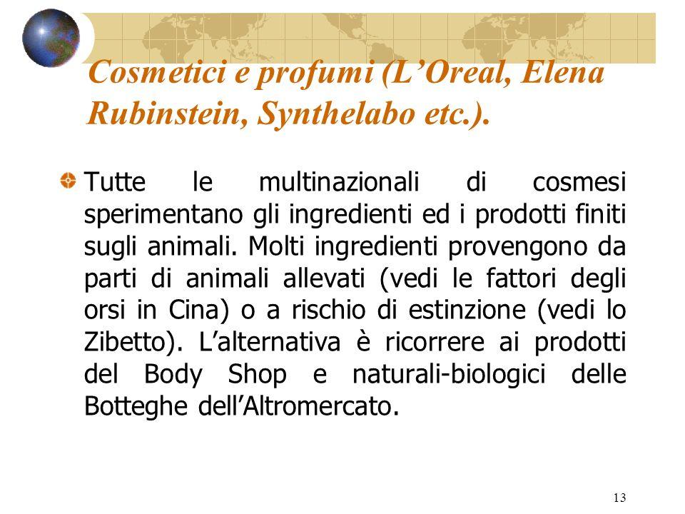 Cosmetici e profumi (L'Oreal, Elena Rubinstein, Synthelabo etc.).