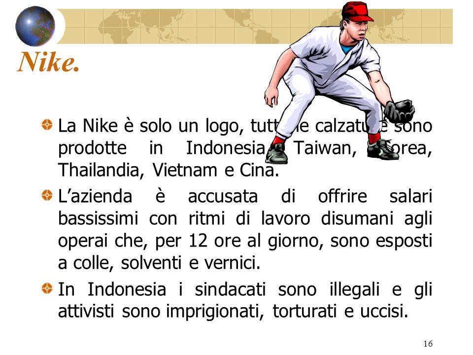 Nike. La Nike è solo un logo, tutte le calzature sono prodotte in Indonesia, Taiwan, Corea, Thailandia, Vietnam e Cina.