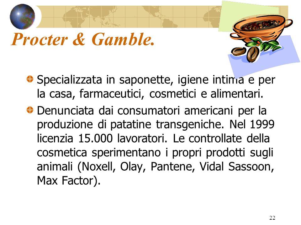Procter & Gamble. Specializzata in saponette, igiene intima e per la casa, farmaceutici, cosmetici e alimentari.