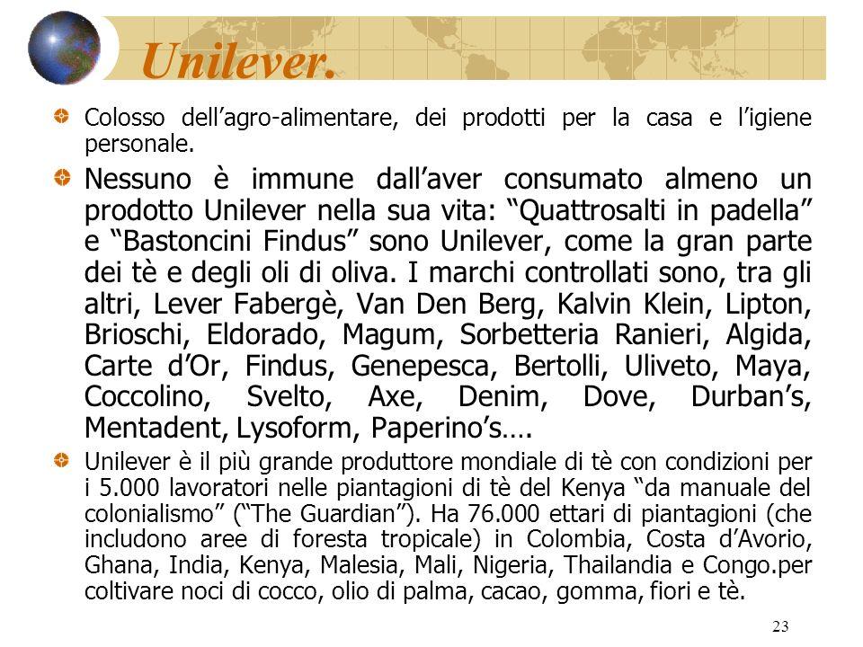 Unilever. Colosso dell'agro-alimentare, dei prodotti per la casa e l'igiene personale.
