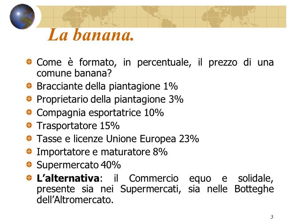 La banana. Come è formato, in percentuale, il prezzo di una comune banana Bracciante della piantagione 1%