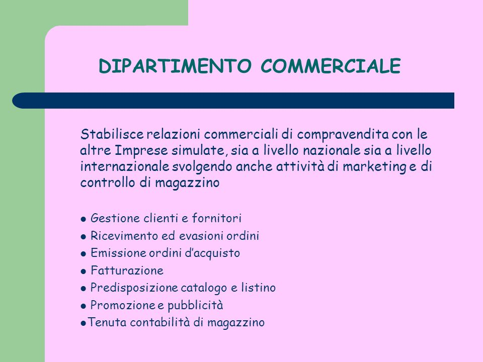 DIPARTIMENTO COMMERCIALE