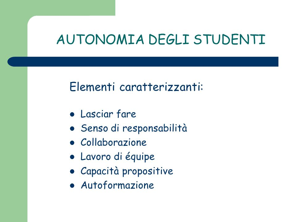 AUTONOMIA DEGLI STUDENTI
