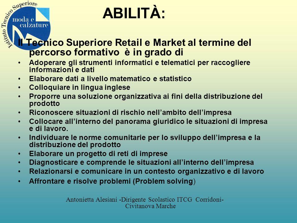 ABILITÀ: Il Tecnico Superiore Retail e Market al termine del percorso formativo è in grado di.