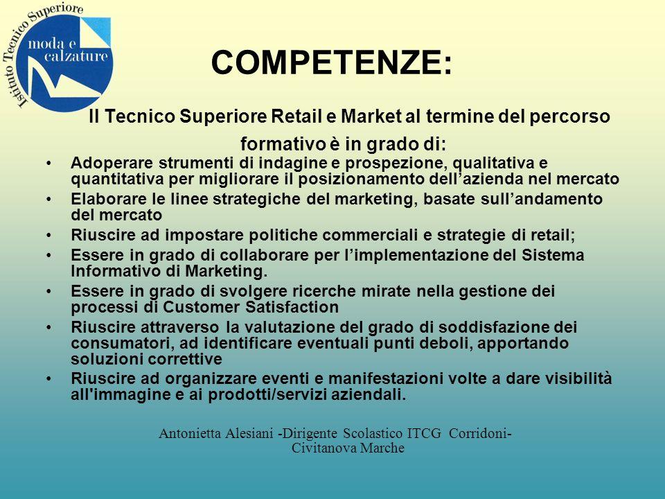 COMPETENZE: Il Tecnico Superiore Retail e Market al termine del percorso formativo è in grado di: