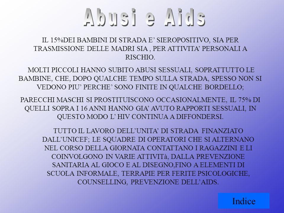 Abusi e AidsIL 15%DEI BAMBINI DI STRADA E' SIEROPOSITIVO, SIA PER TRASMISSIONE DELLE MADRI SIA , PER ATTIVITA' PERSONALI A RISCHIO.