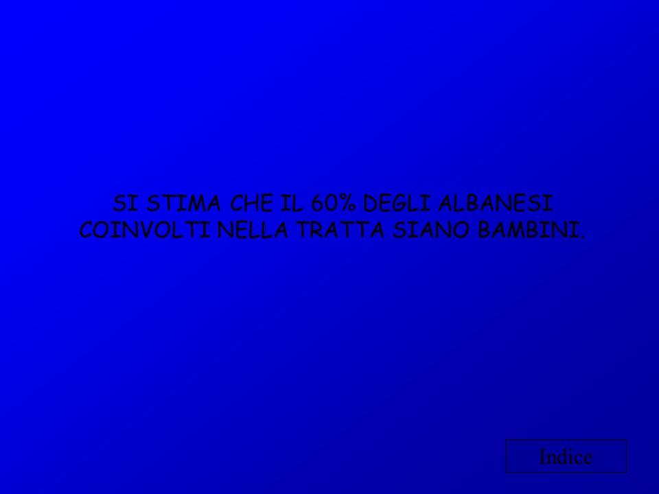 SI STIMA CHE IL 60% DEGLI ALBANESI COINVOLTI NELLA TRATTA SIANO BAMBINI.