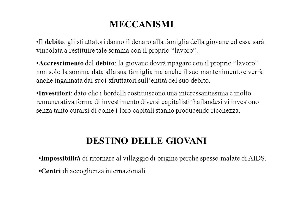 MECCANISMI DESTINO DELLE GIOVANI