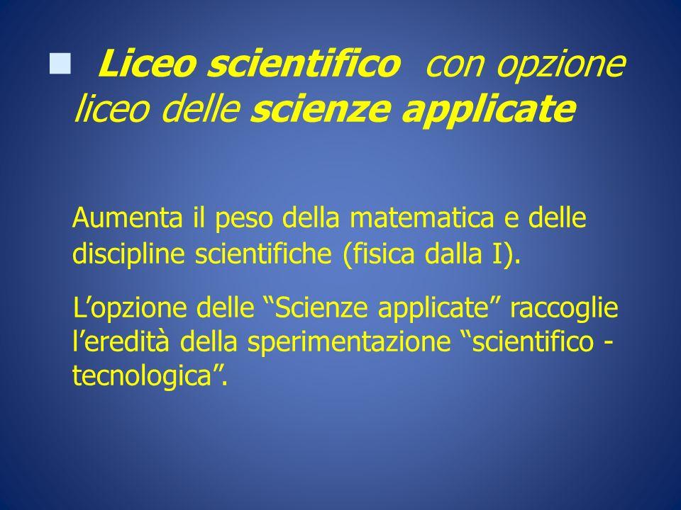 Liceo scientifico con opzione liceo delle scienze applicate