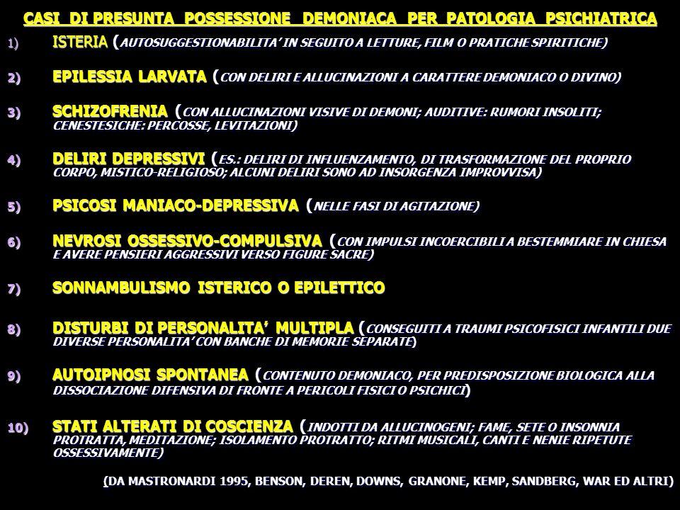 CASI DI PRESUNTA POSSESSIONE DEMONIACA PER PATOLOGIA PSICHIATRICA