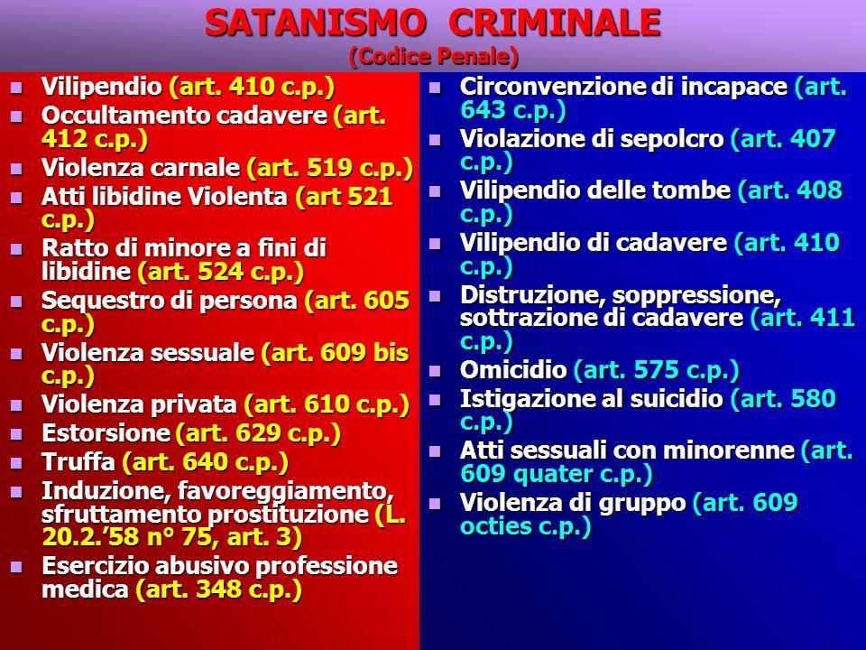 SATANISMO CRIMINALE (Codice Penale)