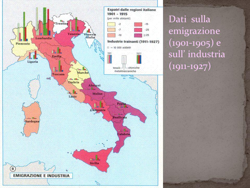Dati sulla emigrazione (1901-1905) e sull' industria (1911-1927)
