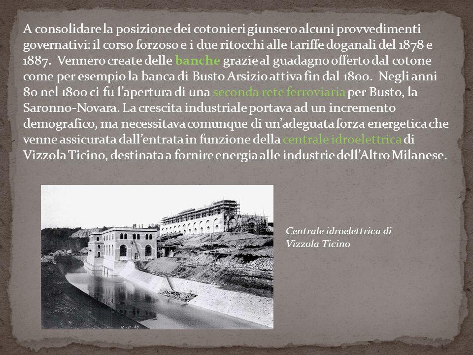 A consolidare la posizione dei cotonieri giunsero alcuni provvedimenti governativi: il corso forzoso e i due ritocchi alle tariffe doganali del 1878 e 1887. Vennero create delle banche grazie al guadagno offerto dal cotone come per esempio la banca di Busto Arsizio attiva fin dal 1800. Negli anni 80 nel 1800 ci fu l'apertura di una seconda rete ferroviaria per Busto, la Saronno-Novara. La crescita industriale portava ad un incremento demografico, ma necessitava comunque di un'adeguata forza energetica che venne assicurata dall'entrata in funzione della centrale idroelettrica di Vizzola Ticino, destinata a fornire energia alle industrie dell'Altro Milanese.