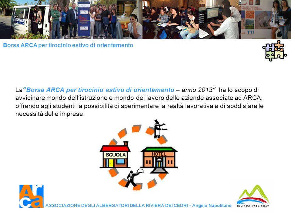 La Borsa ARCA per tirocinio estivo di orientamento – anno 2013 ha lo scopo di avvicinare mondo dell'istruzione e mondo del lavoro delle aziende associate ad ARCA, offrendo agli studenti la possibilità di sperimentare la realtà lavorativa e di soddisfare le necessità delle imprese.