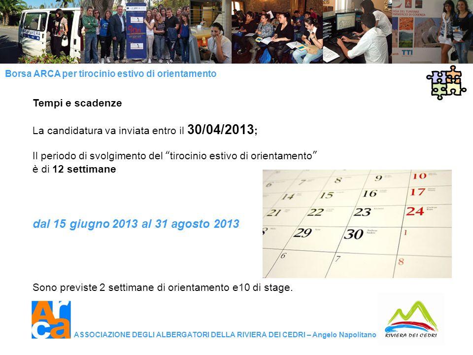 dal 15 giugno 2013 al 31 agosto 2013 Tempi e scadenze