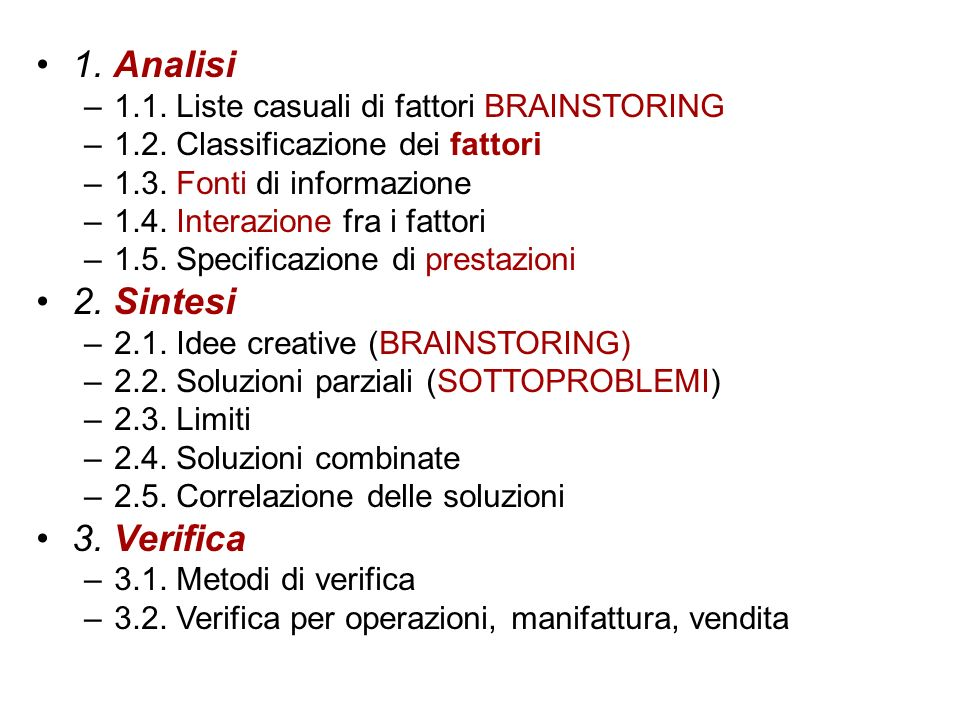 1. Analisi 2. Sintesi 3. Verifica