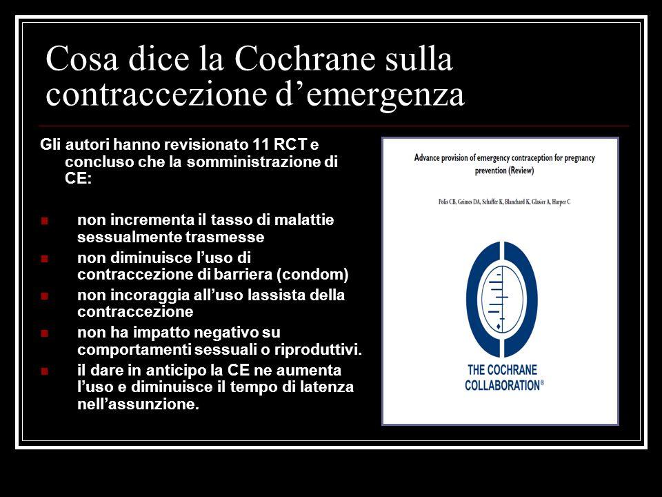 Cosa dice la Cochrane sulla contraccezione d'emergenza