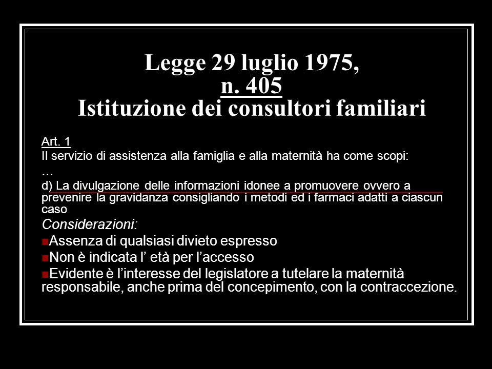 Legge 29 luglio 1975, n. 405 Istituzione dei consultori familiari