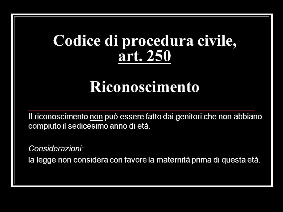 Codice di procedura civile, art. 250 Riconoscimento