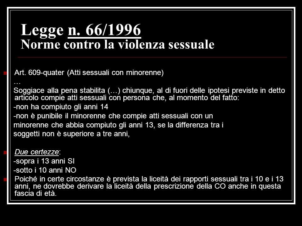 Legge n. 66/1996 Norme contro la violenza sessuale