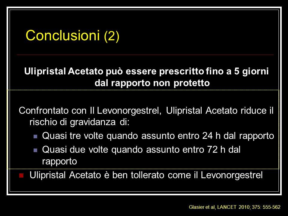 Conclusioni (2) Ulipristal Acetato può essere prescritto fino a 5 giorni dal rapporto non protetto.