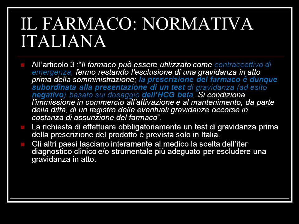 IL FARMACO: NORMATIVA ITALIANA