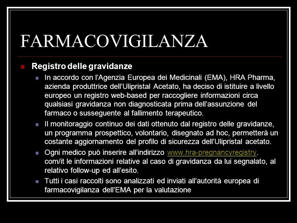 FARMACOVIGILANZA Registro delle gravidanze