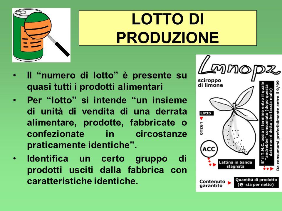 LOTTO DI PRODUZIONE Il numero di lotto è presente su quasi tutti i prodotti alimentari.