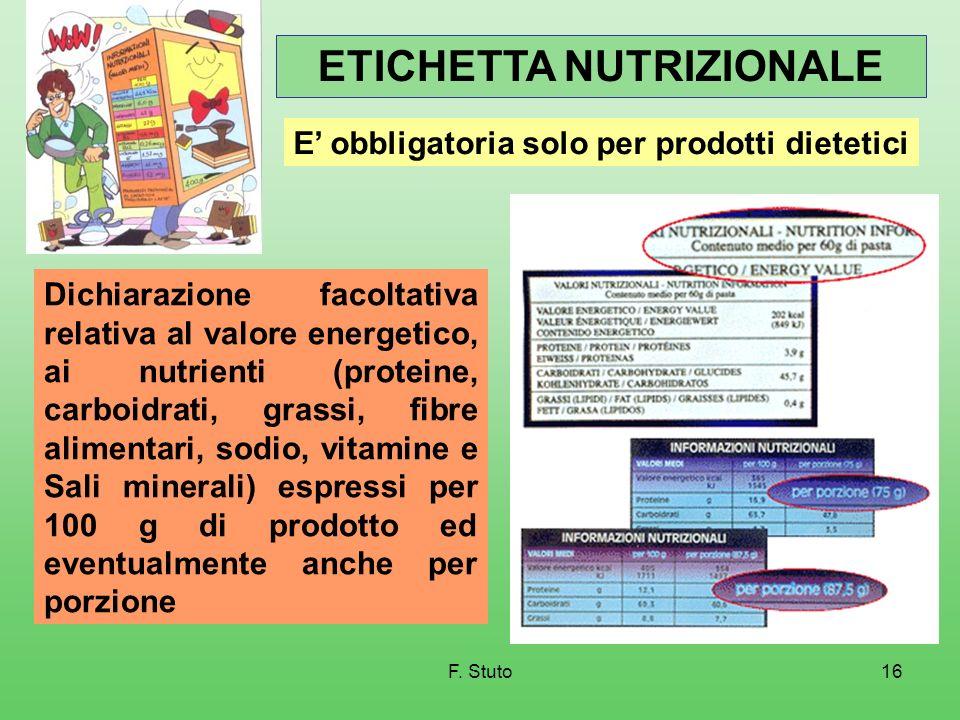 ETICHETTA NUTRIZIONALE E' obbligatoria solo per prodotti dietetici
