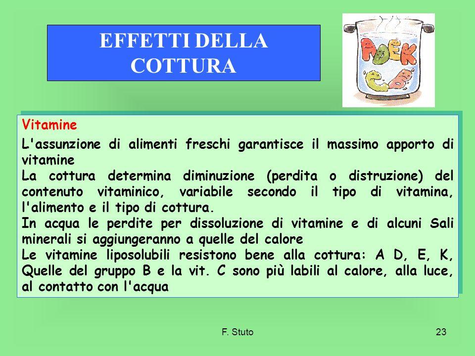 EFFETTI DELLA COTTURA Vitamine
