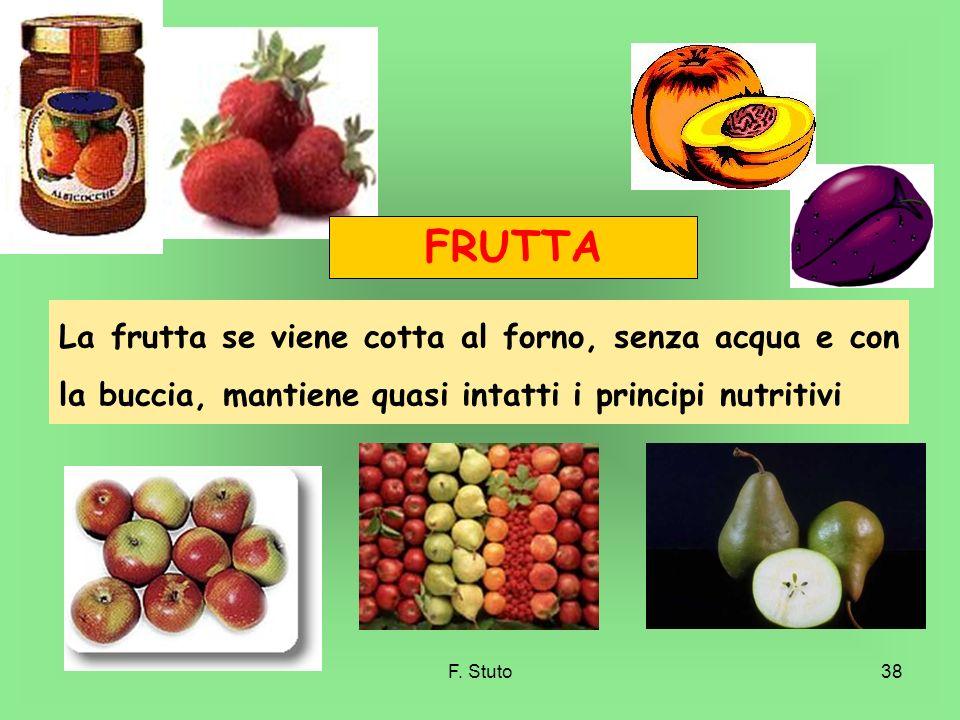 FRUTTA La frutta se viene cotta al forno, senza acqua e con la buccia, mantiene quasi intatti i principi nutritivi.