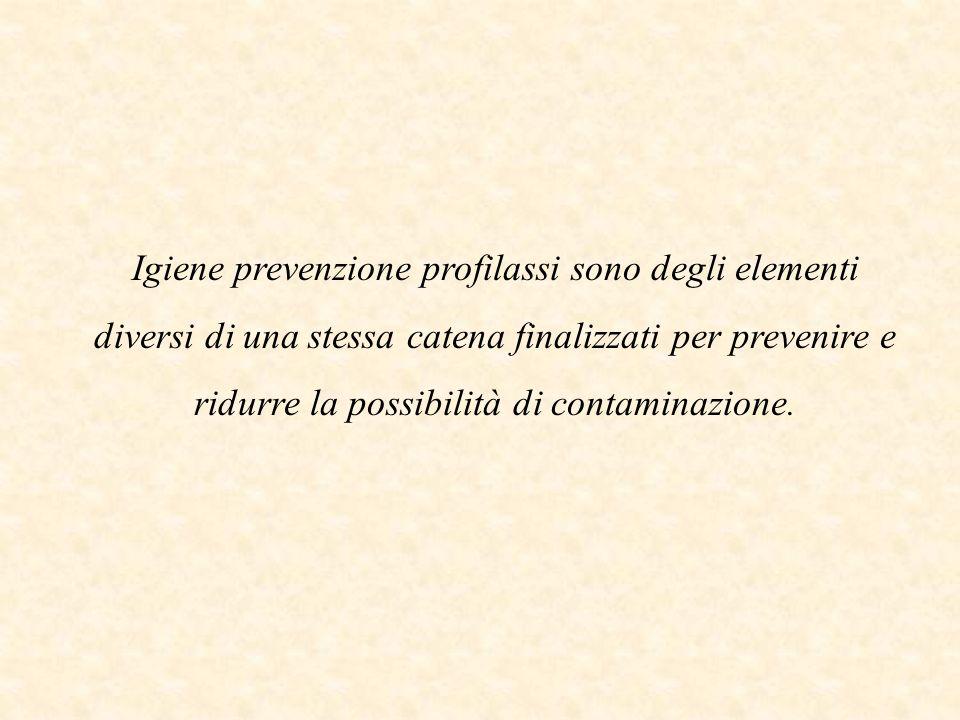 Igiene prevenzione profilassi sono degli elementi diversi di una stessa catena finalizzati per prevenire e ridurre la possibilità di contaminazione.