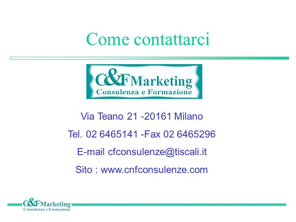 Come contattarci Via Teano 21 -20161 Milano